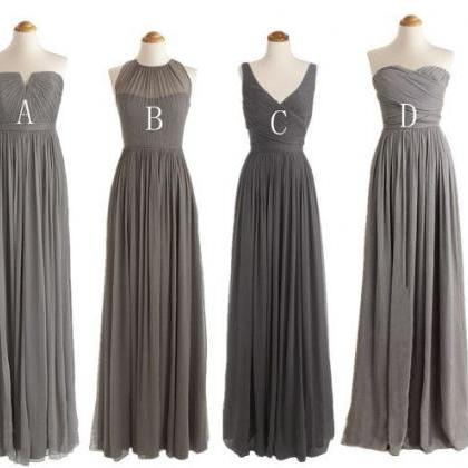 long bridesmaid dress, grey bridesm..