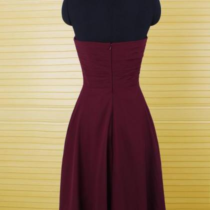 burgundy bridesmaid dress, chiffon ..
