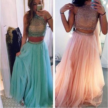 long prom dress,tow pieces prom dre..