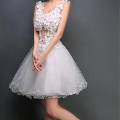 Short Prom Dress,White Homecoming D..