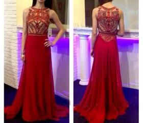 long prom dress, red..