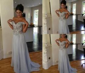 long prom dress, gra..