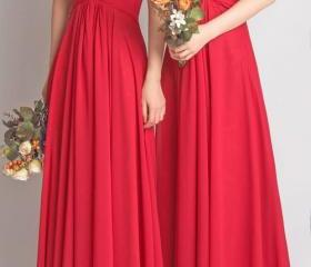 Red Chiffon Ruched S..