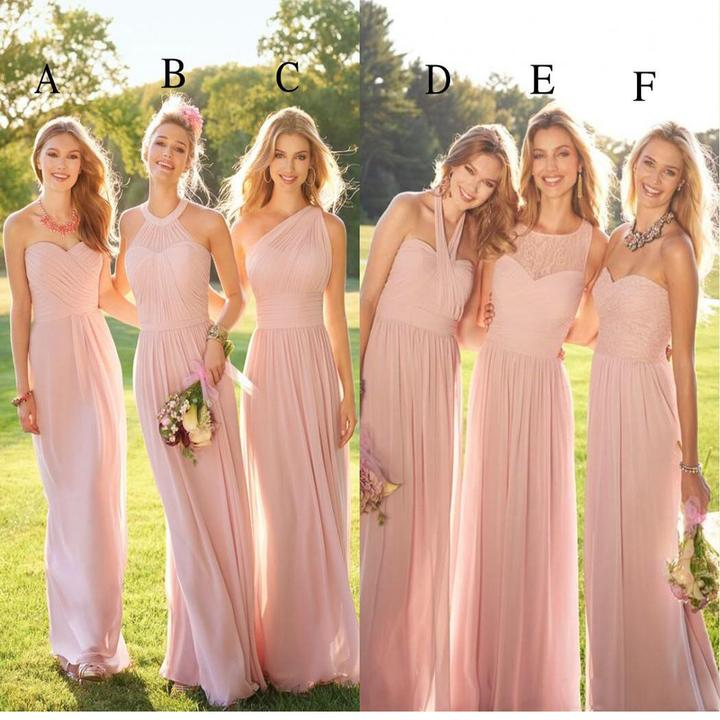 Pastel Pink Long Lace Chiffon Bridesmaid Dresses Mismatched Por Custom Dress For Wedding Guest 17902