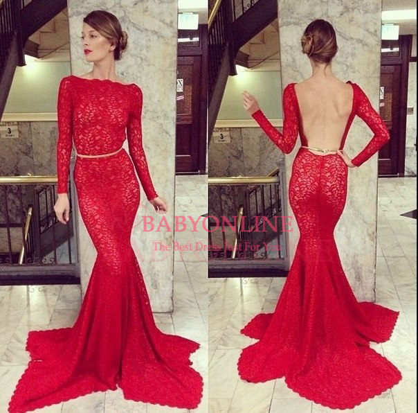 Long Sleeve High Neck Prom Dresses