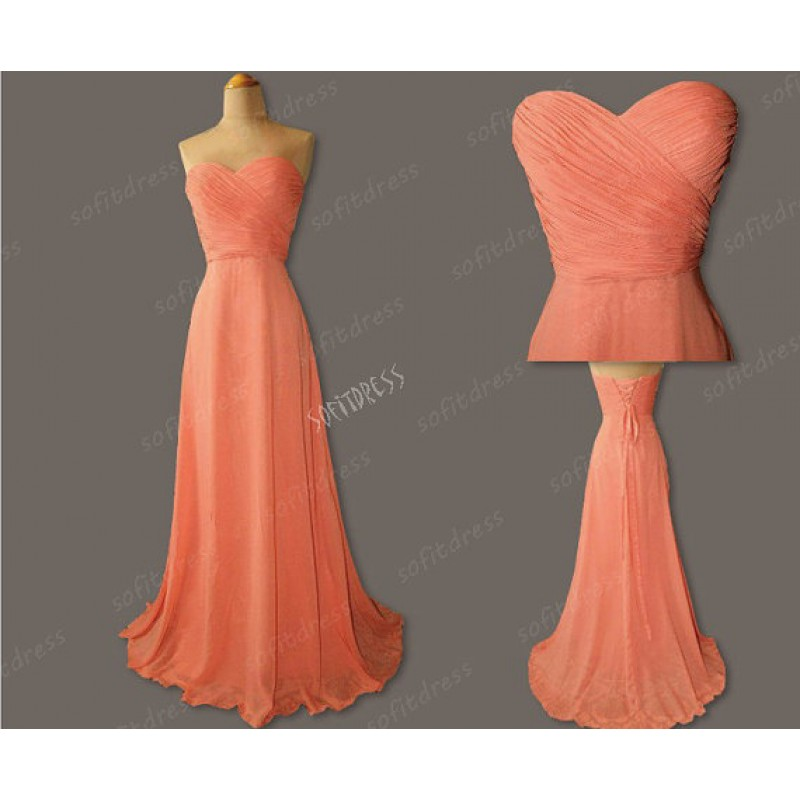 12a56ef51286 long bridesmaid dress, coral bridesmaid dress, cheap bridesmaid dress, chiffon  bridesmaid dress, bridesmaid prom dress, 14980