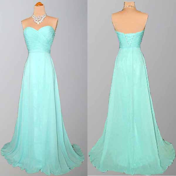 Long Bridesmaid Dress Tiffany Blue Chiffon