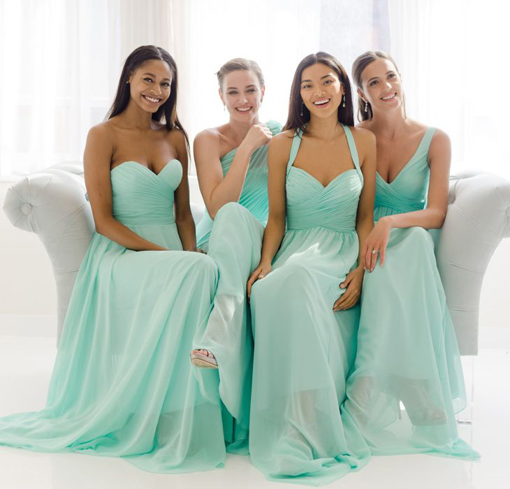 Long Bridesmaid Dress Mismatched Tiffany Blue Chiffon 147894