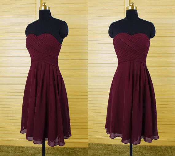 burgundy bridesmaid dress, chiffon bridesmaid dress, cheap bridesmaid dress, short bridesmaid dress, strapless bridesmaid dress, simple bridesmaid dresses, 141307