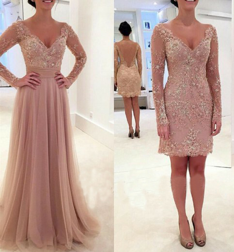 Long Prom Dress Dusty Rose Detachable Lace Party Evening For Girls 141702