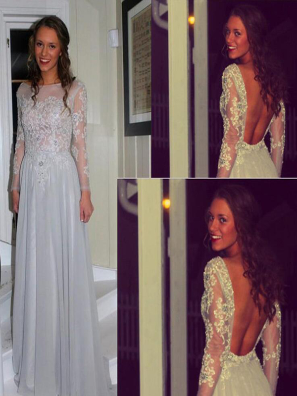 long prom dress,silver prom dress,backless prom dress,sexy prom dress,elegant prom dress,cheap prom dress,long sleeves prom dress,prom dress with lace,2016 prom dress,1724