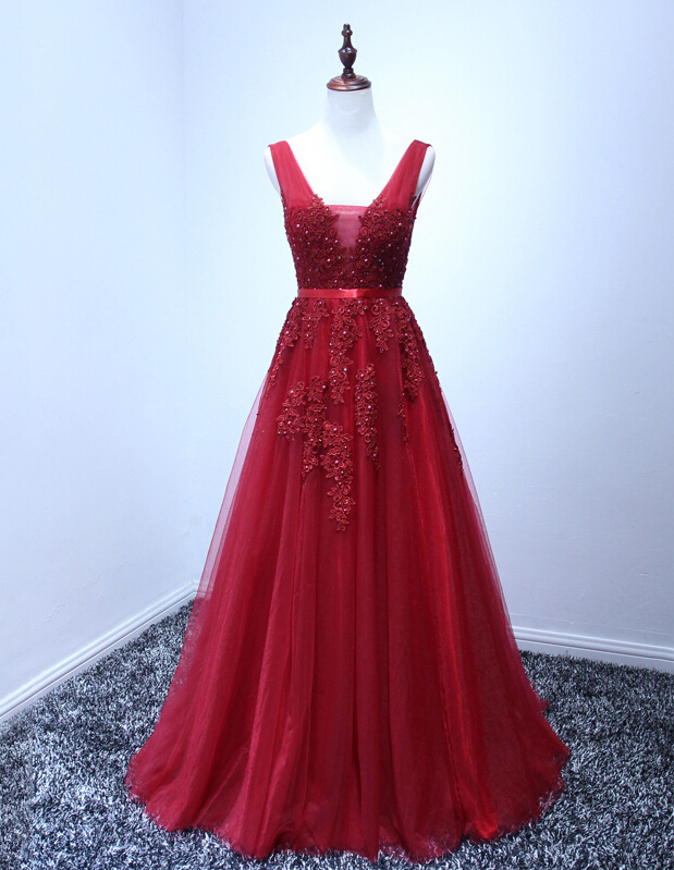 4c6854ee44 Red A-line Prom Dress,Long Prom Dresses,Lace Prom Dress,V-neck Prom Dresses,Charming  Prom Dress,Party Prom Dresses,Red Homecoming Dress,Homecoming Dress , ...