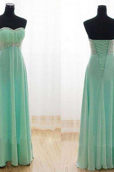 long prom dress, mint prom dress, party prom dress, sweetheart prom dress, chiffon prom dress, cheap prom dress, bridesmaid prom dress, 147869