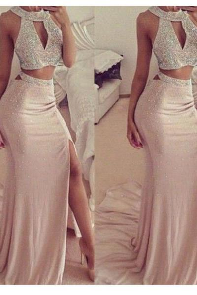 long prom dress, champagne prom dress, two pieces prom dress, sexy prom dress, high slit prom dress, party prom dress, cheap prom dress, long evening dress, 147820