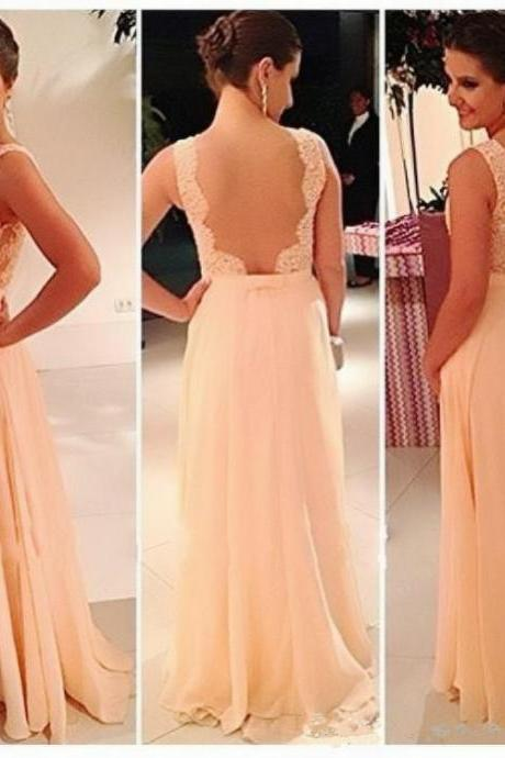 long prom dress, light peach prom dress, lace prom dress, cheap prom dress, open back prom dress, charming prom dress, evening dress, 146201
