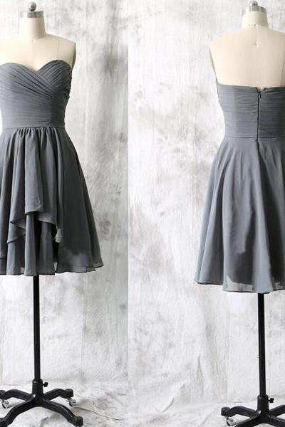 short bridesmaid dress, gray bridesmaid dress, chiffon bridesmaid dress, cheap bridesmaid dress, simple bridesmaid dress, 146387