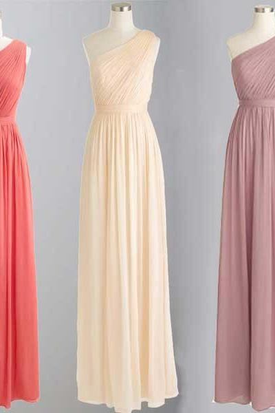 Ruched Chiffon One-Shoulder Floor Length A-Line Bridesmaid Dress, Formal Dress