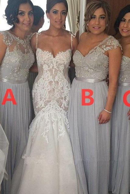 long bridesmaid dress, gray bridesmaid dress, mismatched bridesmaid dresses, cheap bridesmaid dress, lace bridesmaid dress, wedding bridesmaid dresses, 141294