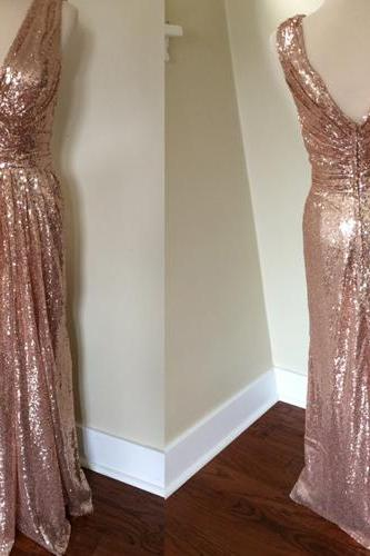 long bridesmaid dress, sparkle sequin bridesmaid dress, glittery bridesmaid dresses, wedding party dress, v-neck bridesmaid dress, cheap bridesmaid dress, 141297