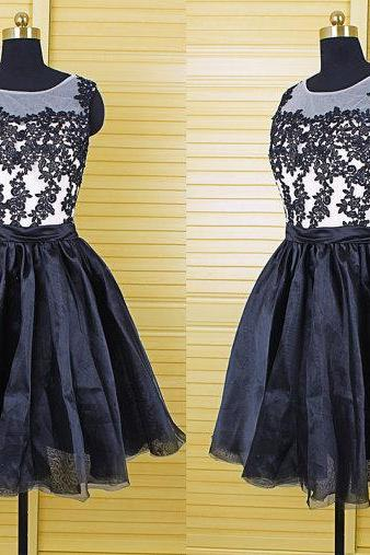 short black lace party prom dress, junior cheap homecoming dress, short black pretty wedding bridesmaid dresses for girls, 141298