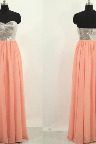 long prom dress, peach prom dress, cheap prom dress, sparkle prom dress, long bridesmaid dress, bridesmaid prom dress, 141550