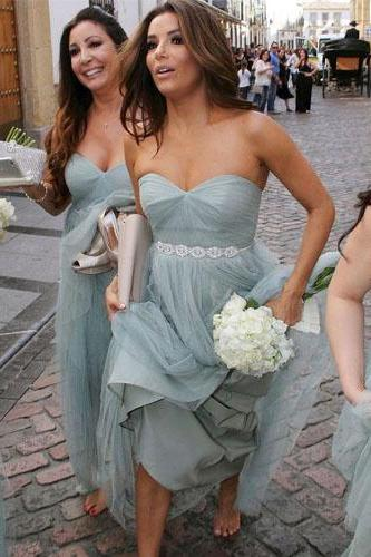 long bridesmaid dress, tulle bridesmaid dress, cheap bridesmaid dress, sweetheart bridesmaid dress, gray blue bridesmaid dress, popular bridesmaid dress, 141568