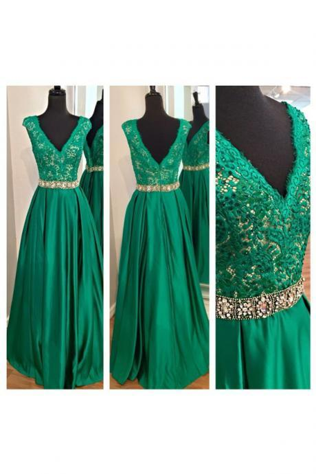 long prom dress, green prom dress, party prom dress, v-neck prom dress, cheap prom dress, prom dress 2016, evening dress gown, 141571