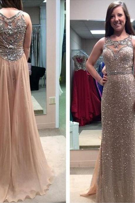 long prom dress, sparkle prom dress, champagne prom dress, charming prom dress, prom dress 2016, glittery prom dress, 141601