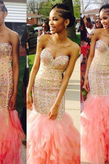 long prom dress, pink prom dress, sparkle prom dress, mermaid prom dress, charming prom dress, prom dress 2016, sweetheart prom dress, ball gown, 141672