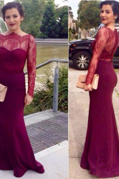 long prom dress, burgundy prom dress, lace prom dress, sheath prom dress, long sleeves prom dress, long evening dress, party prom dress, 141600