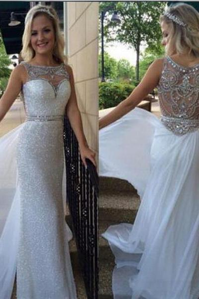 Long prom dress,white prom dress,off shoulder prom dress,sleeveless prom dress,sparkle prom dress,elegant prom dress,discount prom dress,prom dress with rhinestone,2016 prom dress,1727