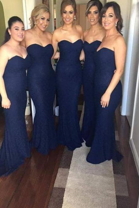 Custom Made Navy Blue Lace Sweetheart Neck Floor Length Mermaid Bridesmaid Dress