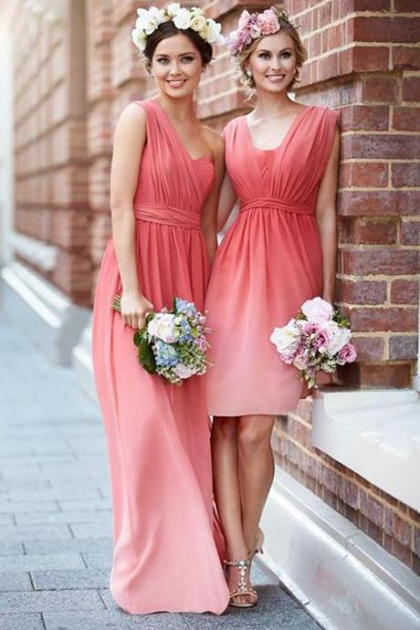 Custom Made Pink Ombre Colour Mismatched Bridesmaid Dress