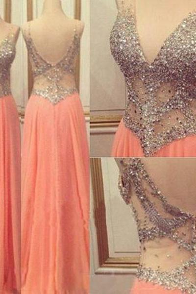 long prom dresses,chiffon prom dresses,v-neck prom dresses,party prom dresses,evening prom dresses,2016 prom dresses,1786