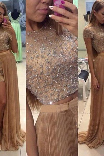 long prom dress ,two piece prom dress ,cheap prom dress , short sleeves prom dress ,chiffon prom dress ,occasion prom dress ,evening prom dress ,1797