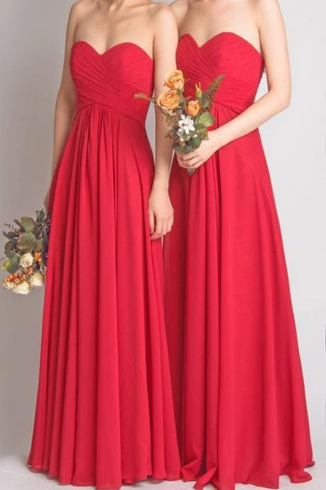 Red Chiffon Ruched Sweetheart Floor Length A-Line Bridesmaid Dress