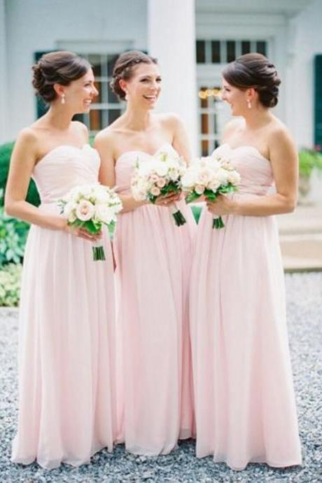 Custom Made Pink Sweetheart Neck Chiffon Floor Length A-Line Bridesmaid Dress