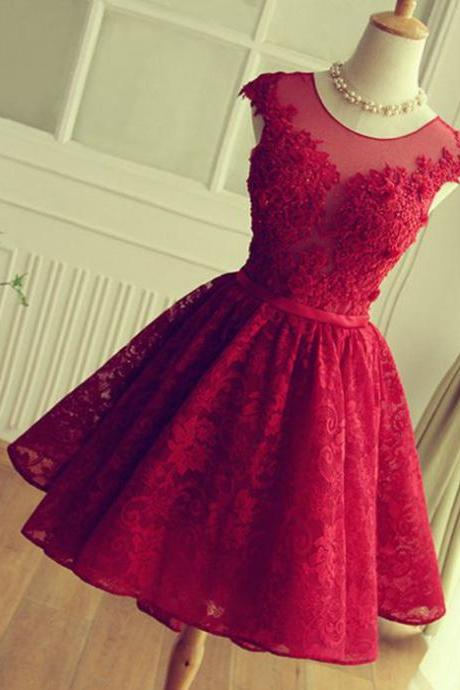 short prom dress,red homecoming dress ,lace homecoming dress ,open back homecoming dress ,cap sleeves homecoming dress ,lovely homecoming dress ,junior prom dress ,cheap prom dress ,l 7150