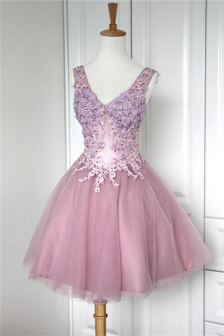 V-Neck homecoming dress,Applique homecoming dress,Tulle homecoming dress,Mini Cocktail homecoming dress,short unique homecoming dress,pretty junior homecoming dress, ,17206
