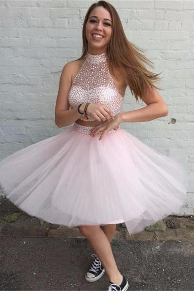 pink short homecoming dress,high neck homecoming dress,tulle cute homecoming dress, lovely homecoming dress,cheap discount homecoming dress,junior homecoming dress,,17132