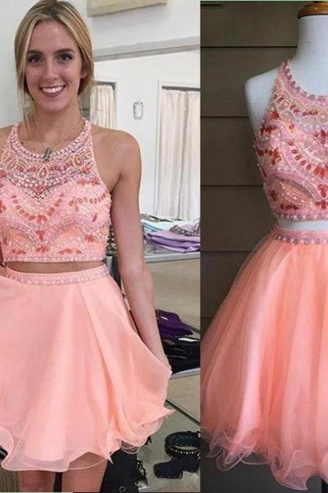 Two Piece Homecoming Dress,Pink Homecoming Dress,New Arrival Homecoming Dress,Cheap Homecoming Dress,Popular Homecoming Dress,Short Homecoming Dress,Modest Homecoming Dress,Homecoming Dress,17149