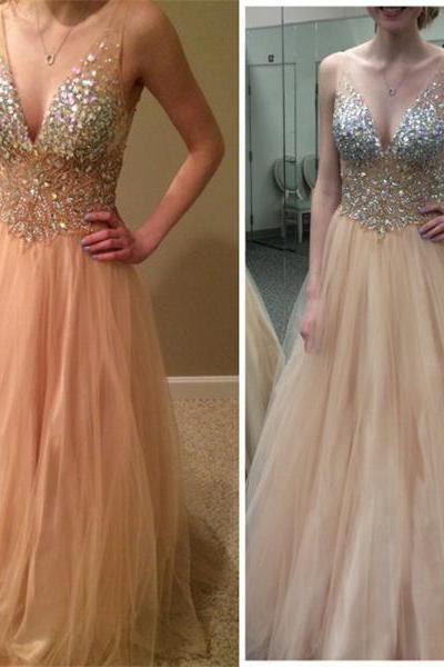 Long Homecoming Dress,Charming Homecoming Dress,V-Neck Prom Dress,A-Line Homecoming Dress,Tulle Prom Dress,Popular Prom Dress,Homecoming Dress,17169