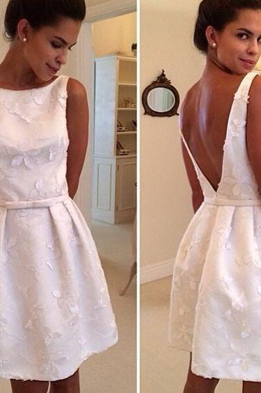 Short Homecoming Dress,Lace Homecoming Dress,White Homecoming Dress,Cute Homecoming Dress, Fashion Homecoming Dress,V-back prom dress,Homecoming Dress,17195