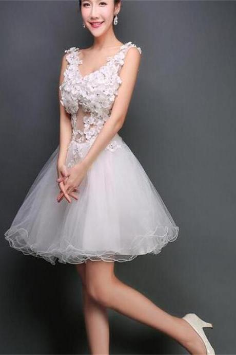 Short Prom Dress,White Homecoming Dress ,Cute Homecoming Dress ,V-neck Homecoming Dress ,Junior Prom Dress ,Cheap Prom Dress , Cocktail Dresses, Graduation Dress,Homecoming Dress,17361