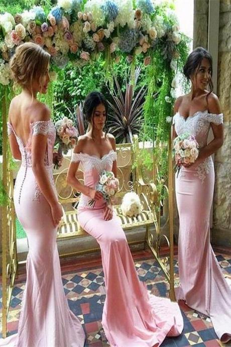 Long Bridesmaid Dress ,Pink Bridesmaid Dress,Mermaid Bridesmaid Dress,Off Shoulder Bridesmaid Dress,Wedding Party Dresses,Bridesmaid Dresses,17506
