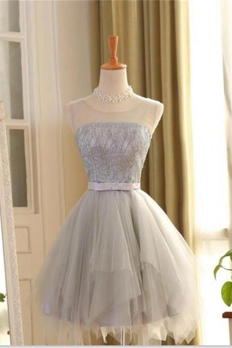 Gray Homecoming Dress,Tulle Homecoming Dress,Junior Homecoming Dress, Scoop Homecoming Dress,Evening Dress, Homecoming Dress ,Prom Dress for Teens,17554