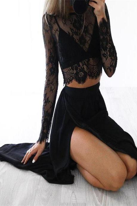 Black Prom Dress,Sexy Slit Prom Dress,Two-piece Party Dress ,Cheap Prom Dress,A-line Prom Dresses ,Evening dresses, Prom Dresses,Long Prom Dress,17562