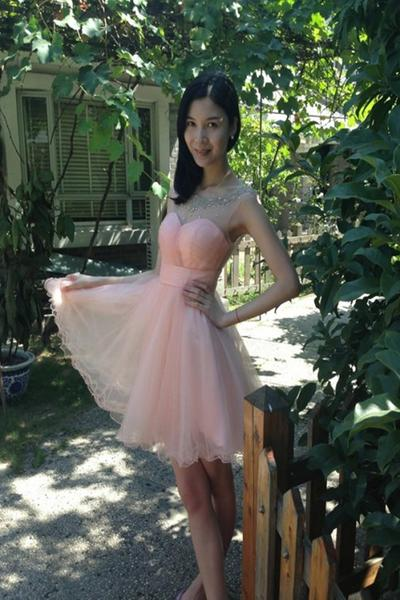 Short Homecoming Dress,Light Pink Homecoming Dress,Tulle Homecoming Dress, Junior Homecoming Dress,Graduation Dress , Homecoming Dress ,Prom Dress for Teens,17573