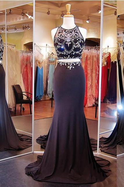 Two Pieces Prom Dress,Sparkly Prom Dress,New Arrival Prom Dress ,Mermaid Prom Dress,Party Prom Dresses ,Evening dresses, Prom Dresses,Long Prom Dress,17619