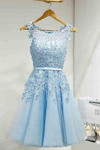Blue Homecoming Dress,Lovely Homecoming Dress,Popular Homecoming Dress, Pretty Homecoming Dress,Junior Homecoming Dress with appliques,Graduation Dress , Homecoming Dress ,Prom Dress for Teens,17668